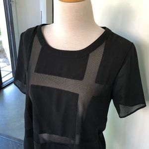 Lush black sheer mesh top